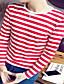 Bomull Rød / Sort Medium Langermet,Rund hals T-skjorte Stripet Høst Enkel Ut på byen Herre