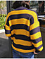 Normal Pullover Fritid/hverdag Enkel Dame,Stripet Gul Crew-hals Langermet Polyester Høst / Vinter Medium Mikroelastisk