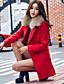 Polyester Rød Medium Langermet,Skjortekrage Frakk Ensfarget Enkel / Gatemote Fritid/hverdag-Vinter Dame