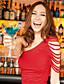 Mulheres Vestido Bandagem Sensual / Moda de Rua Sólido Acima do Joelho Decote Cigano Poliéster / Elastano