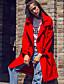 Damen Solide Street Schick Lässig/Alltäglich Trenchcoat,Winter Gekerbtes Revers Langarm Rot Grün Polyester