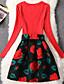 Damen Hülle Kleid-Formal Niedlich Blumen Rundhalsausschnitt Übers Knie Langarm Rot Baumwolle Herbst Mittlere Hüfthöhe Mikro-elastisch