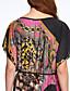 T-shirt-Obuwie damskie Prosta / Moda miejska Lato Codzienne Nadruk-Długość ½ Niebieski / Różowy / Pomarańczowy