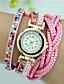 Damen Modeuhr Armband-Uhr Quartz Leder Band Blume Bettelarmband Schwarz Weiß Blau Rosa Mehrfarbig Beige Marke
