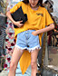 Damen Solide Druck Sexy Einfach Lässig/Alltäglich T-shirt,Rundhalsausschnitt Frühling Sommer Kurzarm Baumwolle Dünn