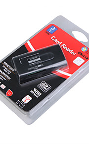 allt-i-ett mini usb 2,0 ms / ms pro / MS Duo / T-Flash / SDHC / SD / MMC-kortläsare (svart)