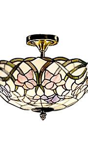 Tiffany-Stil Glasmalerei Pendelleuchte in Blumenmuster mit 2 Leuchten