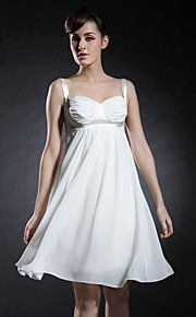 Cocktail Party / Graduation Dress - Ivory Plus Sizes / Petite A-line / Princess Straps / Sweetheart Knee-length Chiffon / Stretch Satin