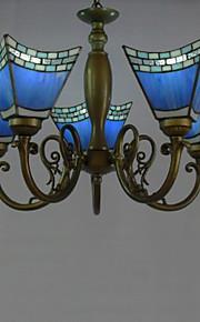 40w antiken inspiriert Kronleuchter mit 5 Lampen in blauen Lampenschirm