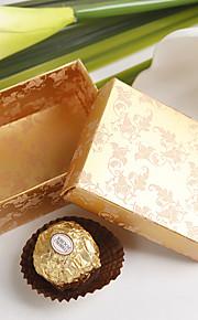 vierkante damast druk ten gunste box in goud (set van 12)