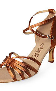 Non Customizable Women's Dance Shoes Latin/Ballroom Satin Stiletto Heel Brown