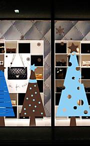 kerst decoratie muurstickers vakantie ornamenten bomen in blauw