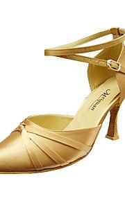 Non Customizable Women's Dance Shoes Modern/Ballroom Satin Stiletto Heel Black/Red/Gold