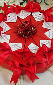 rose rouge boîte de faveur gâteau (jeu de 10)