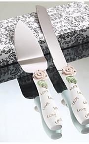 Serving Sets Wedding Cake Knife Elegant Rose Design Resin Handle  Cake Serving Set