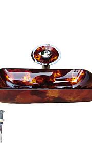Contemporaneo 1.2*56*36*11 Rettangolare Materiale del dissipatore è Vetro temperato Anello di montaggio per bagno Scarico acqua per cucina