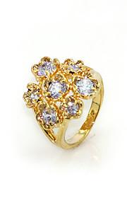 schitterende zirconia geplatineerd bloemvorm mode-ring