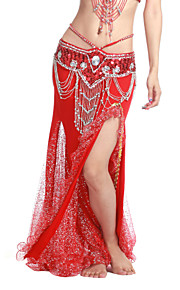 dancewear polyester med flæser ydeevne mavedans nederdel til damer flere farver