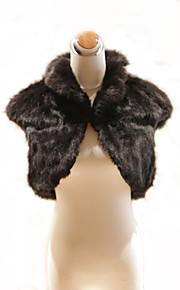 elegante korte mouwen hoge kraag zwart nepbont speciale gelegenheid jas / wrap