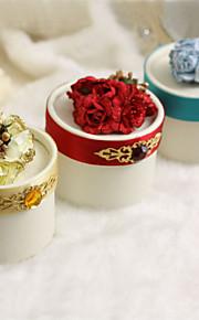 boîtes de faveur ronde avec strass et fleurs - Ensemble de 12 (plus de couleurs)