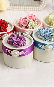 boîtes de faveur rondes avec des fleurs et des perles - set de 12 (plus de couleurs)
