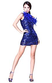 prestaties dancewear tule met bont en pailletten latin dans jurk voor dames meer kleuren