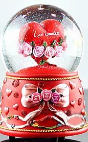 jolie résine coeur rouge conception globe de neige