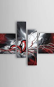 Peinture à l'Huile (Abstrait), Toile Tendue sur Cadre, Peinte à la Main - Ensemble 4 Pièces