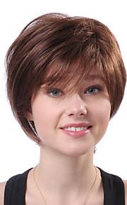 Capless Kort Bruin Golvend 100% Human Hair Pruiken