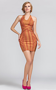 Cocktail Party Dress Sheath/Column Halter Short/Mini Rayon