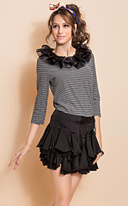 TS Detachable Ruffle Collar Stripe Blouse