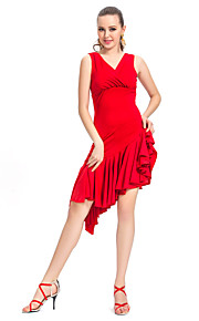 dancewear v-front viscose met ruches latin dans jurk voor dames