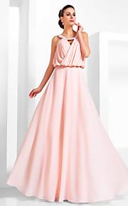 Promo Soirée Formel Bal Militaire Robe - Inspiration Vintage Elégant Trapèze Princesse Décolleté Longueur Sol Mousseline de soie avec