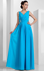 Prom / Formal Evening / Military Ball Dress - Elegant Plus Size / Petite Sheath / Column V-neck Floor-length Chiffon withBeading /