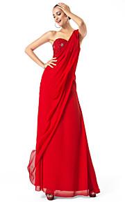 gaine / colonne une épaule-parole longueur mousseline de soie soir / robe de bal