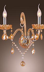 Artisitc Wall Light avec 2 lumières bougie Ambre cristal de style