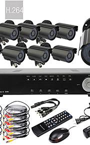 8CH D1 Realtime H.264 600TVL High Definition CCTV DVR Kit (8 stuks Waterdichte Dag Nacht CMOS-camera's)