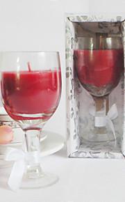 Belle Wine Glass Design Bougie Favor dans une boîte cadeau