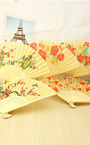 Beautiful Floral Bamboo Hand Fan - Set of 4(Mixed Floral Pattern)