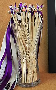 Purple Wedding Ribbon Wand--(Set of 10) Peacock Wedding