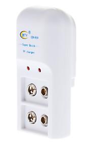 BTY Batteri Lader til 2 * 9V 6F22 Batterier (220V)