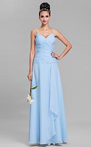 Lanting Bride Floor-length Chiffon Bridesmaid Dress Sheath / Column Spaghetti Straps Plus Size / Petite with Criss Cross