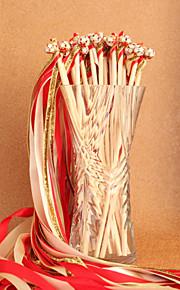 Red&Ivory&Gold Wedding Ribbon Wand--(Set of 10)