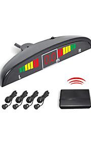 4 Wireless del radar Sensori di parcheggio Sistema-Led e cicalino di allarme (bianco, nero, argento)