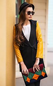 TS PU Leder Spleißen Tweed Kontrast Farbe Blazer