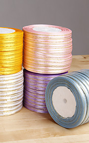 Satin Ribbon With Gold Thread - Set Of 10 Rolls (More Colors)