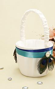 bande bleue avec plume de paon panier de fleurs fille fleur panier