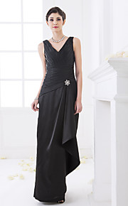 Floor-length Stretch Satin Bridesmaid Dress - Black Plus Sizes Sheath/Column V-neck