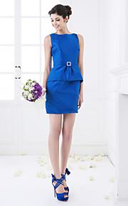 Short/Mini Taffeta Bridesmaid Dress - Royal Blue Plus Sizes Sheath/Column Jewel