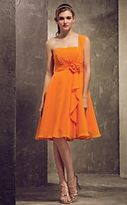 Homecoming Bridesmaid Dress Knee Length Chiffon A Line Princess One Shoulder Dress (403386)